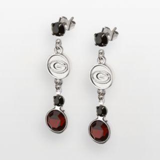 Georgia Bulldogs Silver Tone Crystal Logo Linear Drop Earrings