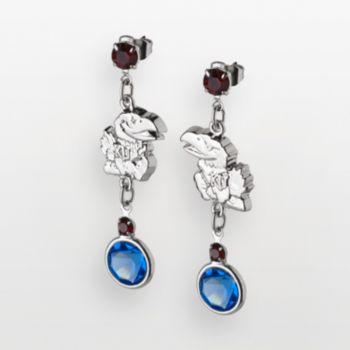 Kansas Jayhawks Silver Tone Crystal Logo Linear Drop Earrings