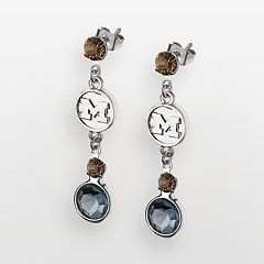 Michigan Wolverines Silver Tone Crystal Logo Linear Drop Earrings