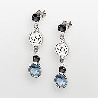North Carolina Tar Heels Silver Tone Crystal Logo Linear Drop Earrings