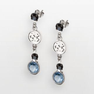 North Carolina Tar Heels Silver Tone Crystal Logo Linear Drop Earrings