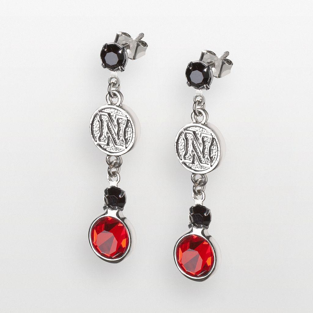 Nebraska Cornhuskers Silver Tone Crystal Logo Linear Drop Earrings