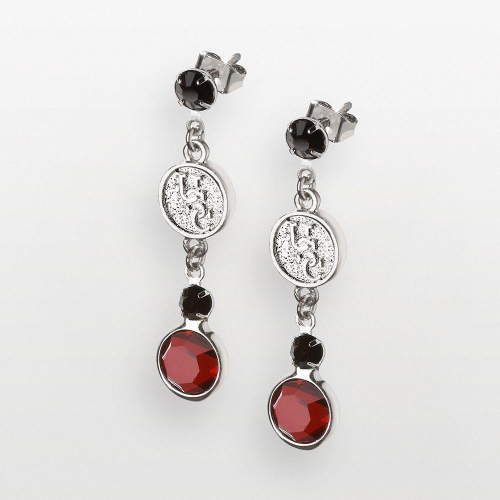 South Carolina Gamecocks Silver Tone Crystal Logo Linear Drop Earrings
