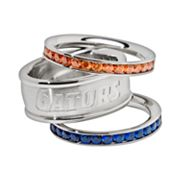 Florida Gators Stainless Steel Crystal Stack Ring Set