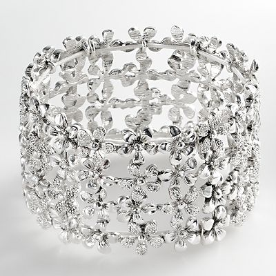Trifari Silver Tone Simulated Crystal Flower Stretch Bracelet