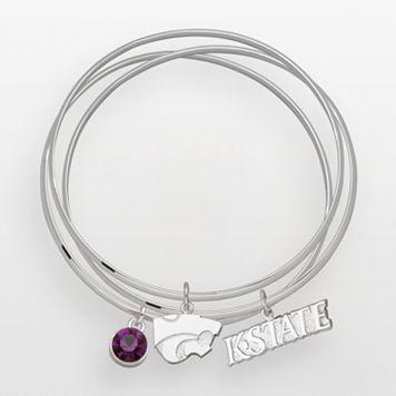 Kansas State Wildcats Silver Tone Crystal Charm Bangle Bracelet Set