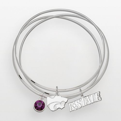 Kansas State Wildcats Silver Tone Crystal Charm Bangle Bracelet Set