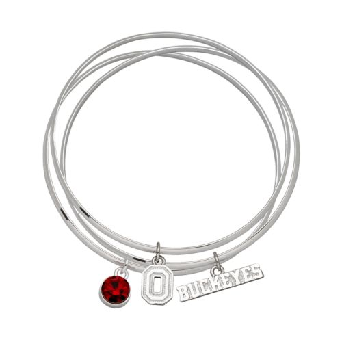 Ohio State Buckeyes Silver Tone Crystal Charm Bangle Bracelet Set