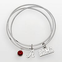 Alabama Crimson Tide Silver Tone Crystal Charm Bangle Bracelet Set
