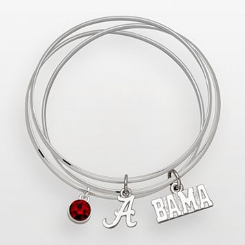 Alabama Crimson Tide Silver Tone Crystal Charm Bangle Bracelet Set