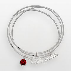 Arkansas Razorbacks Silver Tone Crystal Charm Bangle Bracelet Set