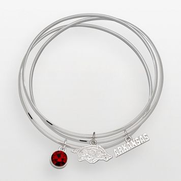 Arkansas Razorbacks Silver Tone Crystal Charm Bangle Bracelet Set