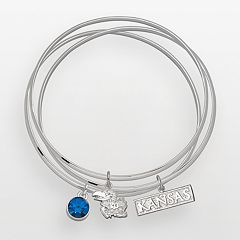 Kansas Jayhawks Silver Tone Crystal Logo Charm Bangle Bracelet Set