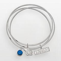 Kansas Jayhawks Silver Tone Crystal Logo Charm Bangle Bracelet Set