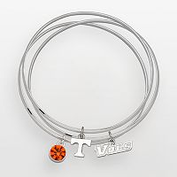 Tennessee Volunteers Silver Tone Crystal Charm Bangle Bracelet Set