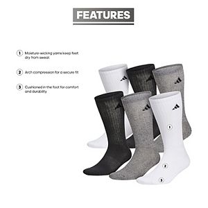 Men's adidas 6-pk. ClimaLite Crew Performance SocksMen's adidas 6-pack Climalite Crew Performance Socks