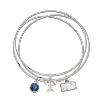 LogoArt Texas Rangers Silver Tone Crystal Charm Bangle Bracelet Set