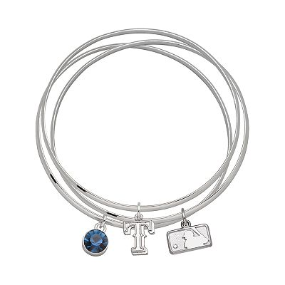 Texas Rangers Silver Tone Crystal Charm Bangle Bracelet Set