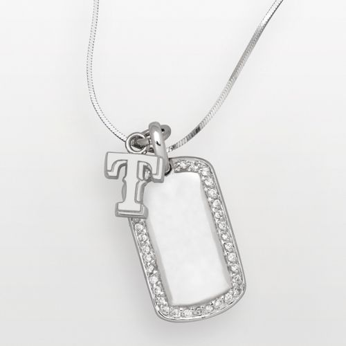 LogoArt Texas Rangers Sterling Silver Cubic Zirconia Dog Tag Pendant