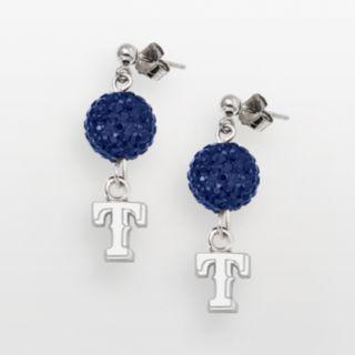 LogoArt Texas Rangers Sterling Silver Crystal Logo Linear Drop Earrings