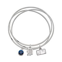 LogoArt Detroit Tigers Silver Tone Crystal Charm Bangle Bracelet Set
