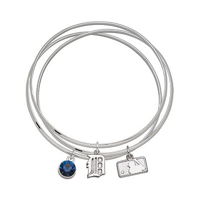 Detroit Tigers Silver Tone Crystal Charm Bangle Bracelet Set