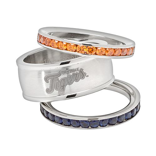 LogoArt Detroit Tigers Stainless Steel Crystal Stack Rings