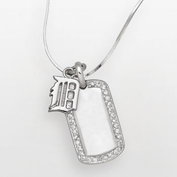 LogoArt Detroit Tigers Sterling Silver Cubic Zirconia Logo Dog Tag Pendant