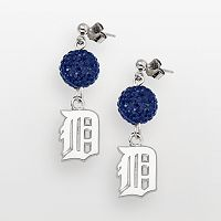 LogoArt Detroit Tigers Sterling Silver Crystal Logo Linear Drop Earrings