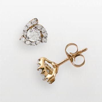 14k Gold 1/2-ct. T.W. Certified Round-Cut Diamond Stud Earrings