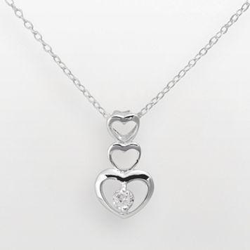 Sterling Silver Cubic Zirconia Linear Heart Pendant