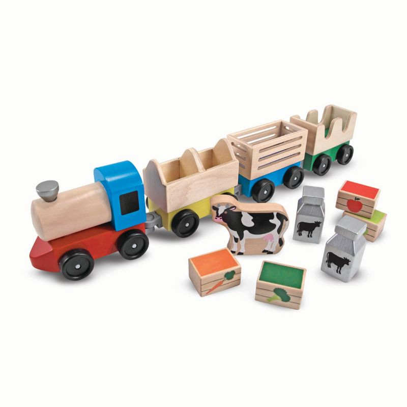 Melissa and Doug Wooden Farm Train Playset, Multicolor