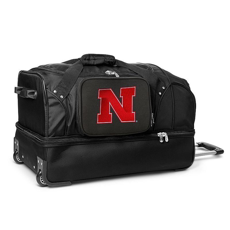 Nebraska Cornhuskers 27-Inch Rolling Duffel Bag, Black