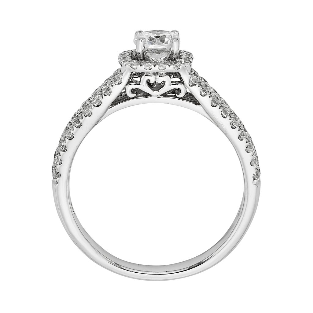 Round-Cut IGL Certified Diamond Frame Engagement Ring in 14k White Gold (1 ct. T.W.)