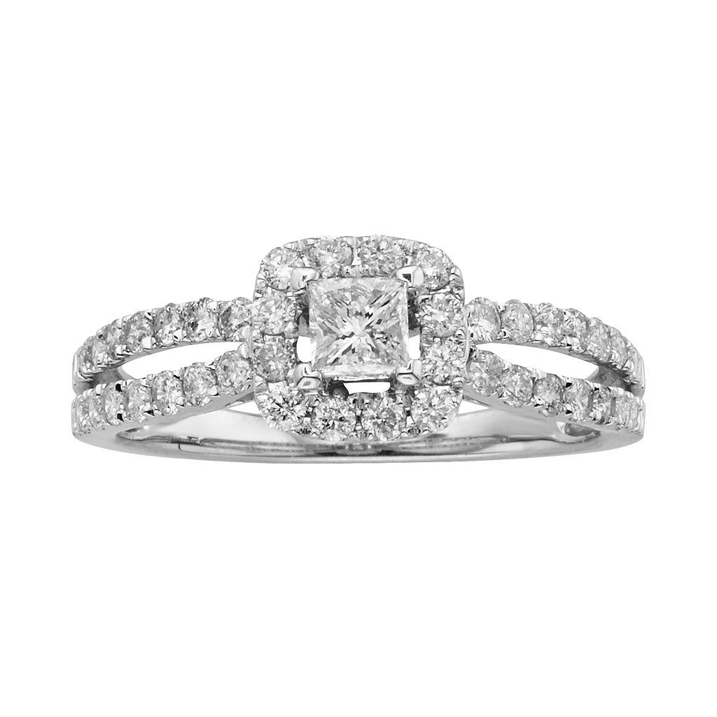 Princess-Cut IGL Certified Diamond Frame Engagement Ring in 14k White Gold (1 ct. T.W.)