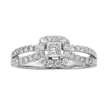 Princess-Cut IGL Certified Diamond Frame Engagement Ring in 14k White Gold (1 ct. T.W.)