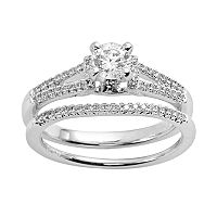 Round-Cut Certified Diamond Engagement Ring Set in 14k White Gold (5/8 ctT.W.)