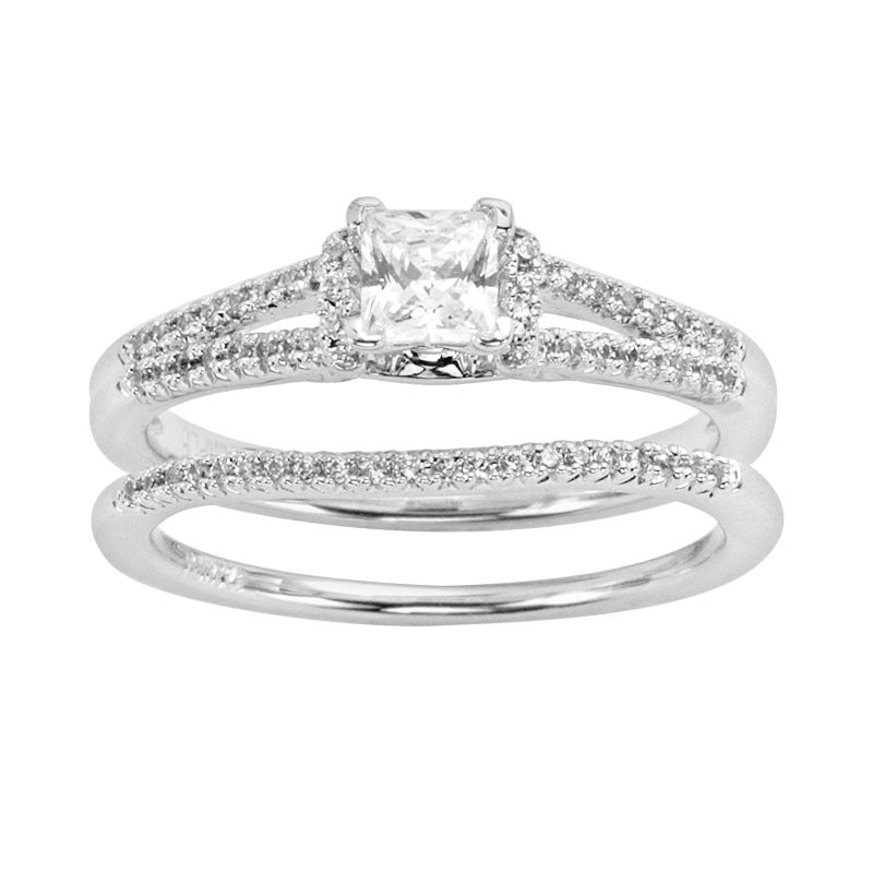Princess-Cut Diamond Engagement Ring Set in 14k White Gold (3 ct. T.W ...