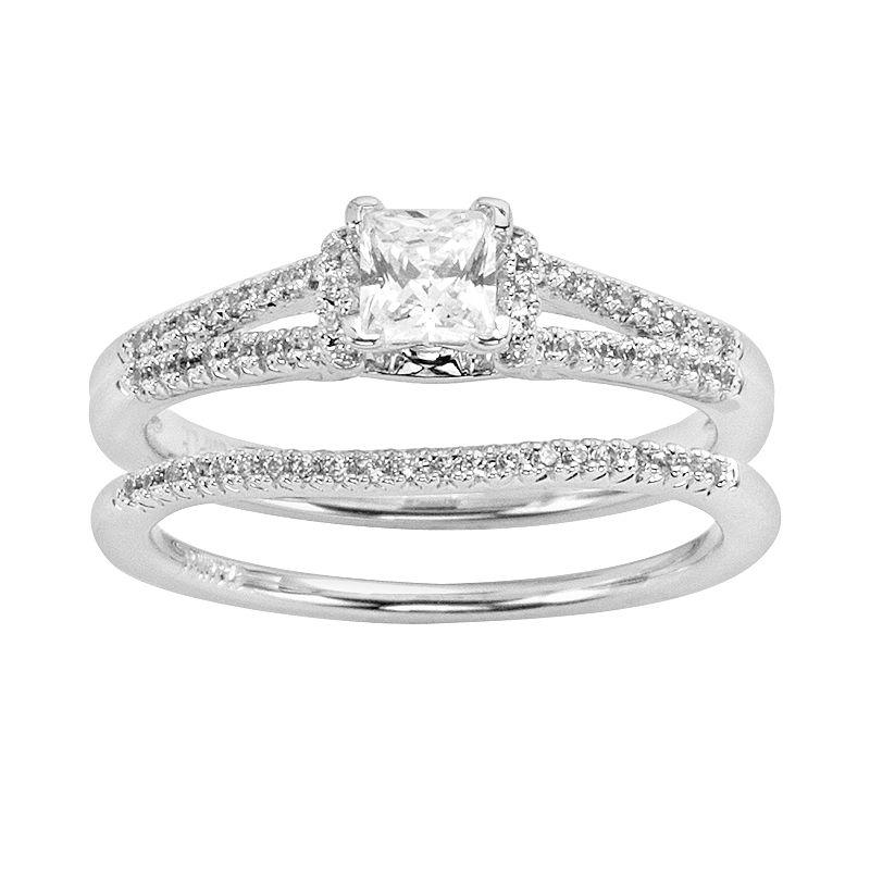 Princess-Cut Diamond Engagement Ring Set in 14k White Gold (3 ct. T.W ...