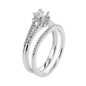 Princess-Cut Certified Diamond Engagement Ring Set in 14k White Gold (5/8 ct. T.W.)
