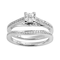 Princess-Cut Certified Diamond Engagement Ring Set in 14k White Gold (5/8 ctT.W.)