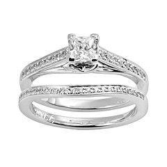 Princess-Cut Certified Diamond Engagement Ring Set in 14k White Gold (5\/8 ct. T.W.) by