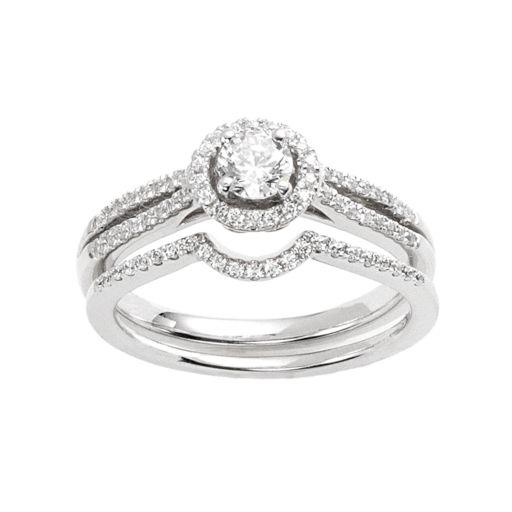 IGL Certified Diamond Halo Engagement Ring Set in 14k White Gold (5/8 Carat T.W.)
