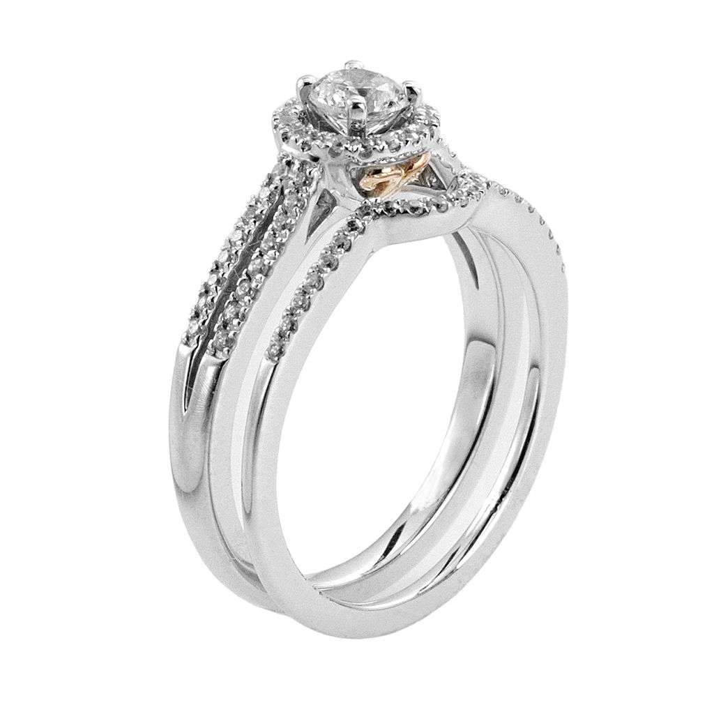 IGL Certified Diamond Halo Engagement Ring Set in 14k White Gold (5/8 Carat T.W.)