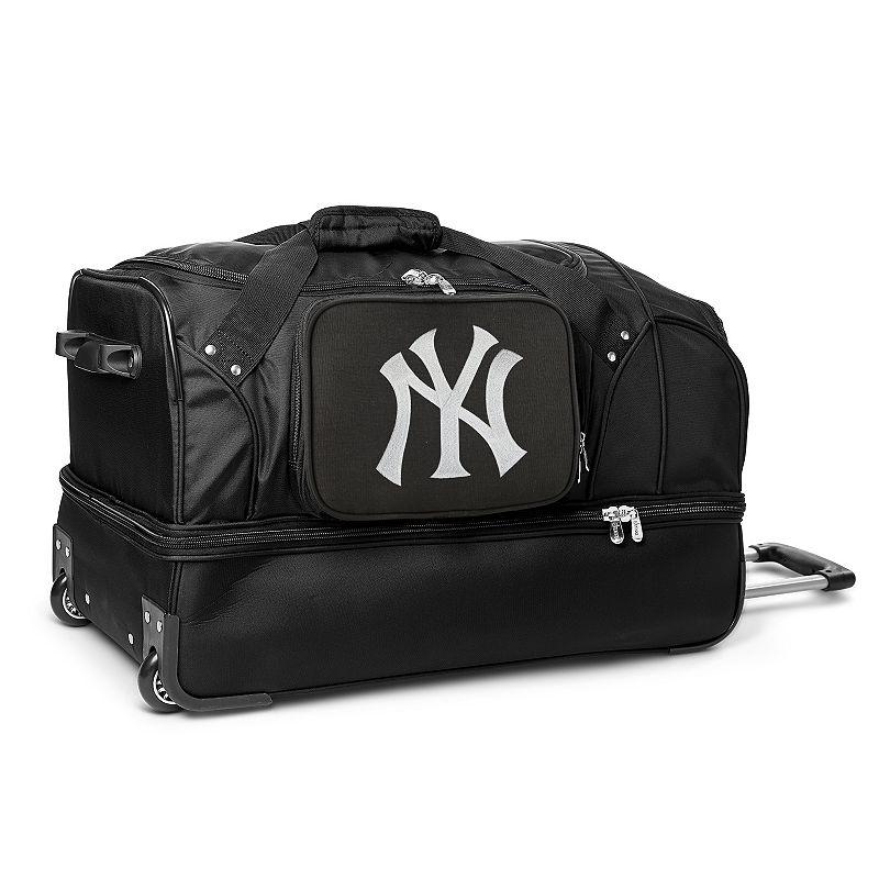 New York Yankees 27-Inch Rolling Duffel Bag, Black