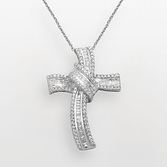 Sterling Silver 1/2-ct. T.W. Diamond Cross Pendant