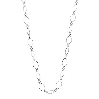 Chaps Silver Tone Textured Oval Long Necklace