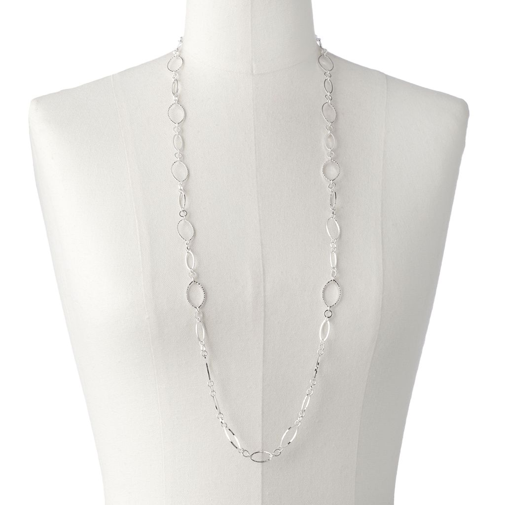 Textured Oval Link Long Necklace