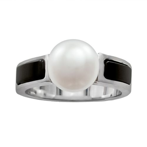 Sterling Silver Freshwater Cultured Pearl and Onyx Ring