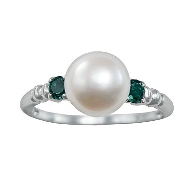 Sterling Silver Freshwater Cultured Pearl and Emerald Ring